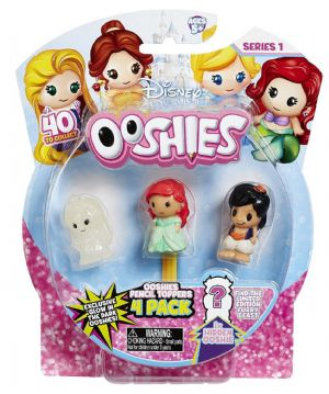 Ooshies 4 Pack Disney Princess Pencil Toppers - Belle, Ariel & Aladdin